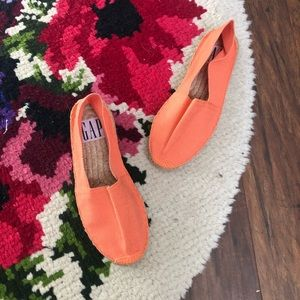 Gap Bright Orange Slip On Espadrille Flats Shoes